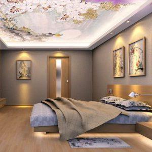 Натяжные потолки с фотопечатью в Минской спальне