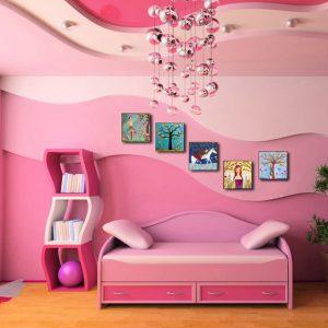 Многоуровневые натяжные потолки в спальне для девочки