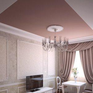 Матовые натяжные потолки в гостинной