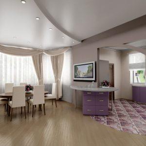Сатиновые натяжные потолки в гостиной